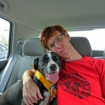 Clint and Callie getting ready for Pit Bull Awareness Day